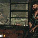 Max Payne eavesdropping on a meeting deep in the favelas.