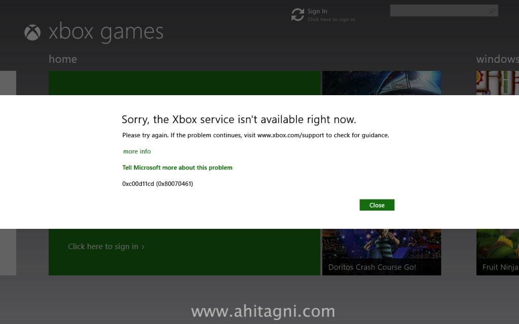 Xbox service not available.