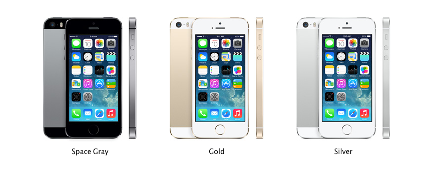 The new iPhone5S in three different colors.